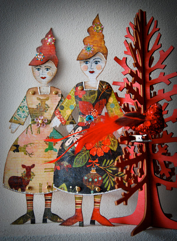 Marsha Valk | Little Christmas Ladies // Mixed Media Dolls