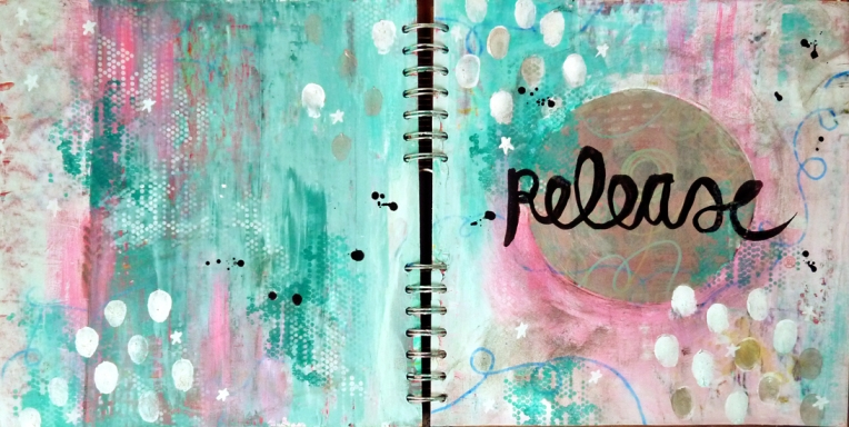 Marsha Valk | OLW: Release // art journal spread