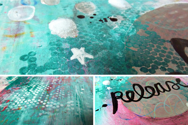 Marsha Valk | OLW: Release // art journal spread details
