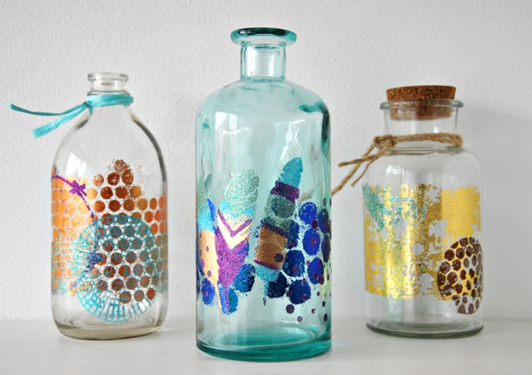 Marsha Valk | Embossed mixed media bottles