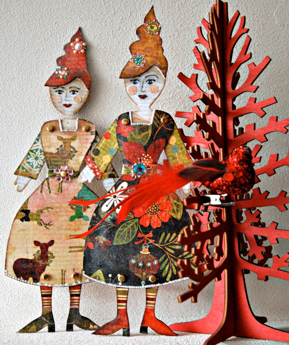 Marsha Valk | Little Christmas Ladies // Mixed Media Paper Dolls