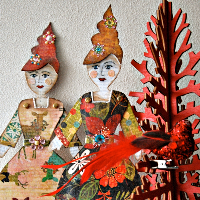 Marsha Valk | Little Christmas Ladies // Mixed Media Paper Dolls