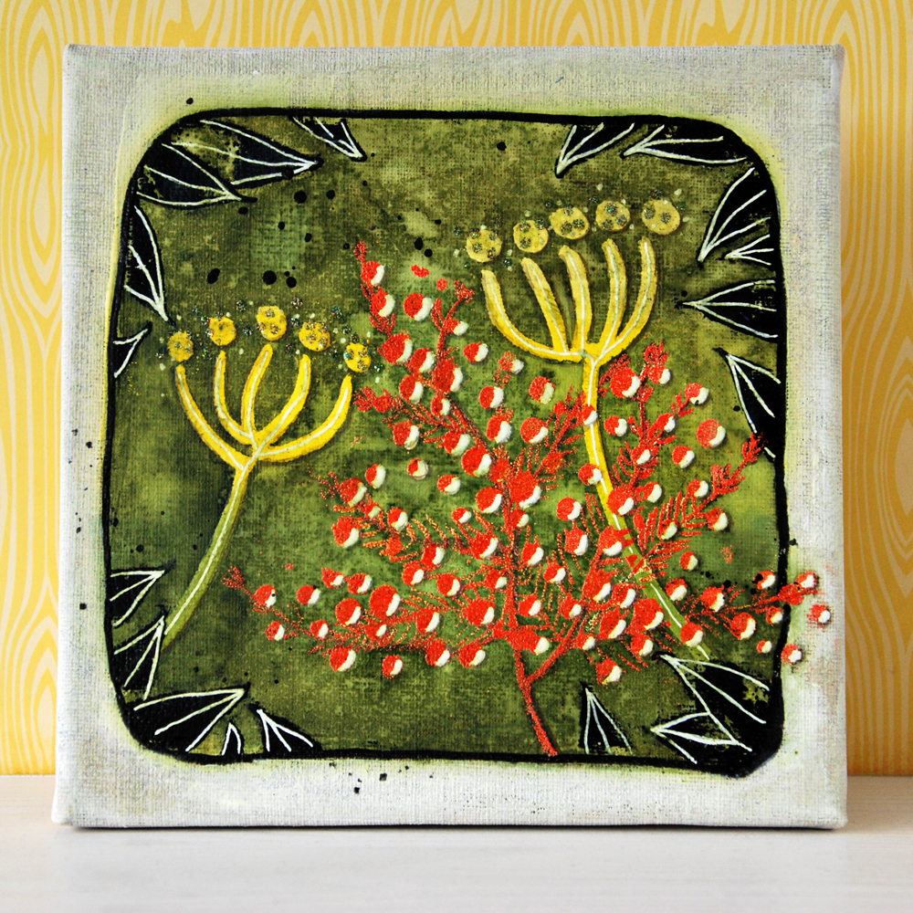 Marsha Valk | WOW! Embossing Powders: Mixed Media Nature Canvas
