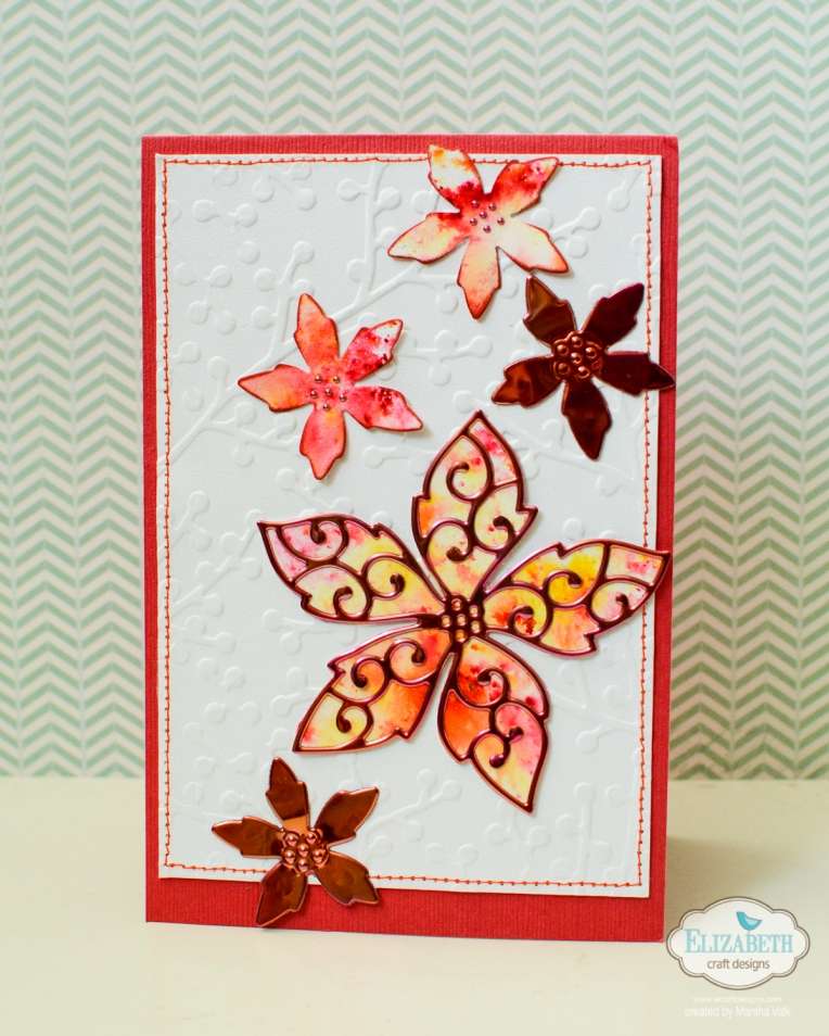 Marsha Valk | Elizabeth Craft Designs: Christmas Cards / using the new dies, Shimmer Sheetz and Ken Oliver Color Burst