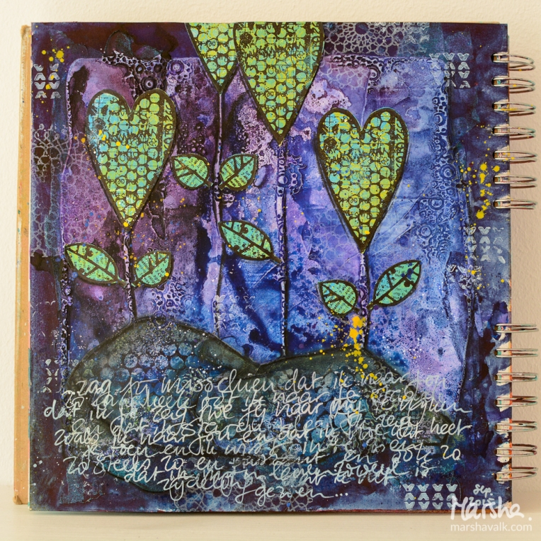 Marsha Valk | Inspired by: Nathalie Kalbach Birgit Koopsen / mixed media art journal page