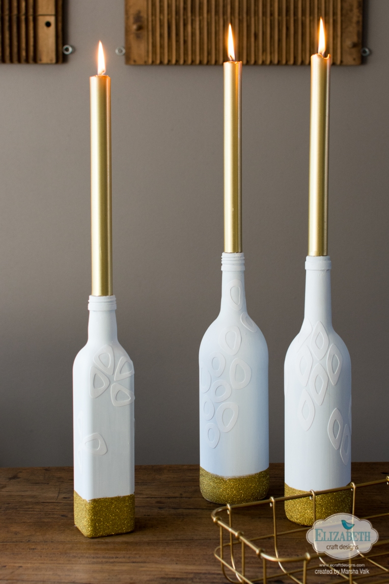 Marsha Valk | Elizabeth Craft Designs: White & Gold Candle Holders
