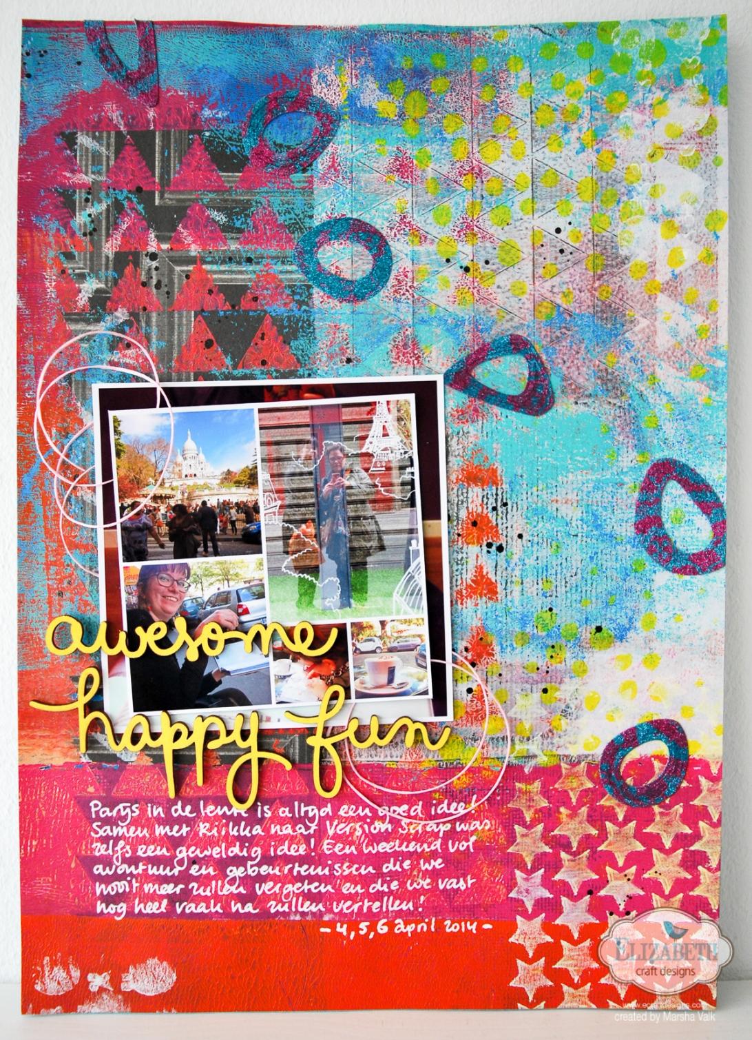 Marsha Valk | Elizabeth Craft Designs: Glitter Lace Technique // scrapbook page