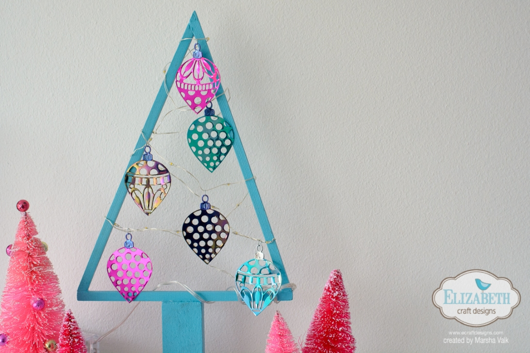 Marsha Valk | Elizabeth Craft Designs: Christmas Tree Frame with Fairy Lights and Shimmer Sheetz Ornaments