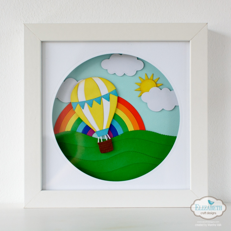 Marsha Valk | Elizabeth Craft Designs: Fly with me to the Rainbow // Shadow Box Frame