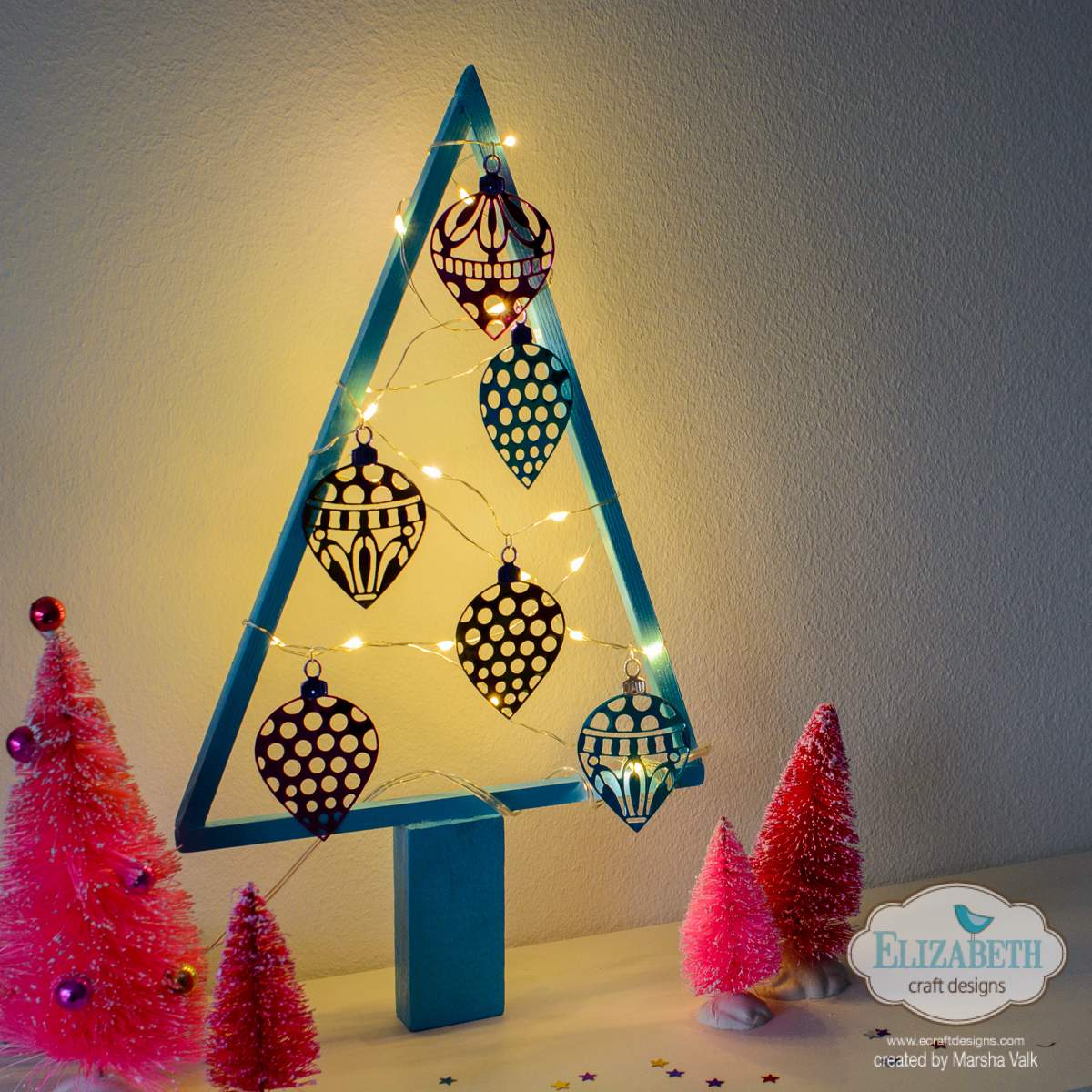 Christmas Tree Frame with Fairy Lights and Shimmer Sheetz ...