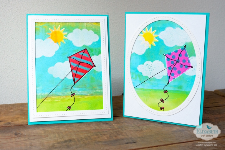 Marsha Valk | Elizabeth Craft Designs: Lets Go Fly a Kite Gelli Printed Cards