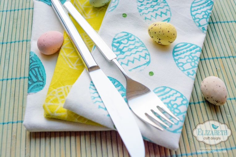 Marsha Valk | Elizabeth Craft Designs: Stamped Easter Egg Napkins