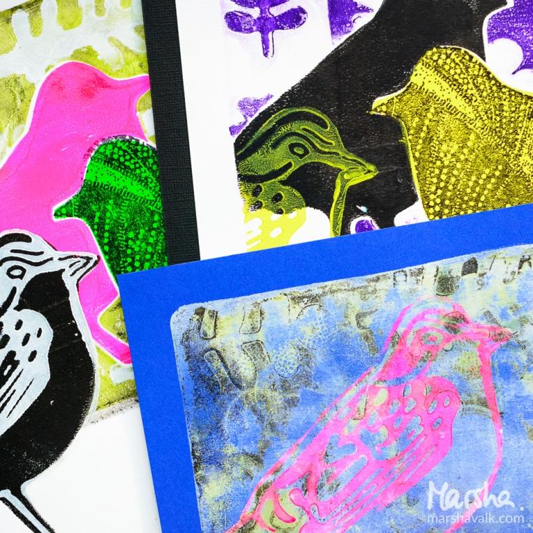 Marsha Valk | nStudio: Opposites Attract Gelli Plate Prints