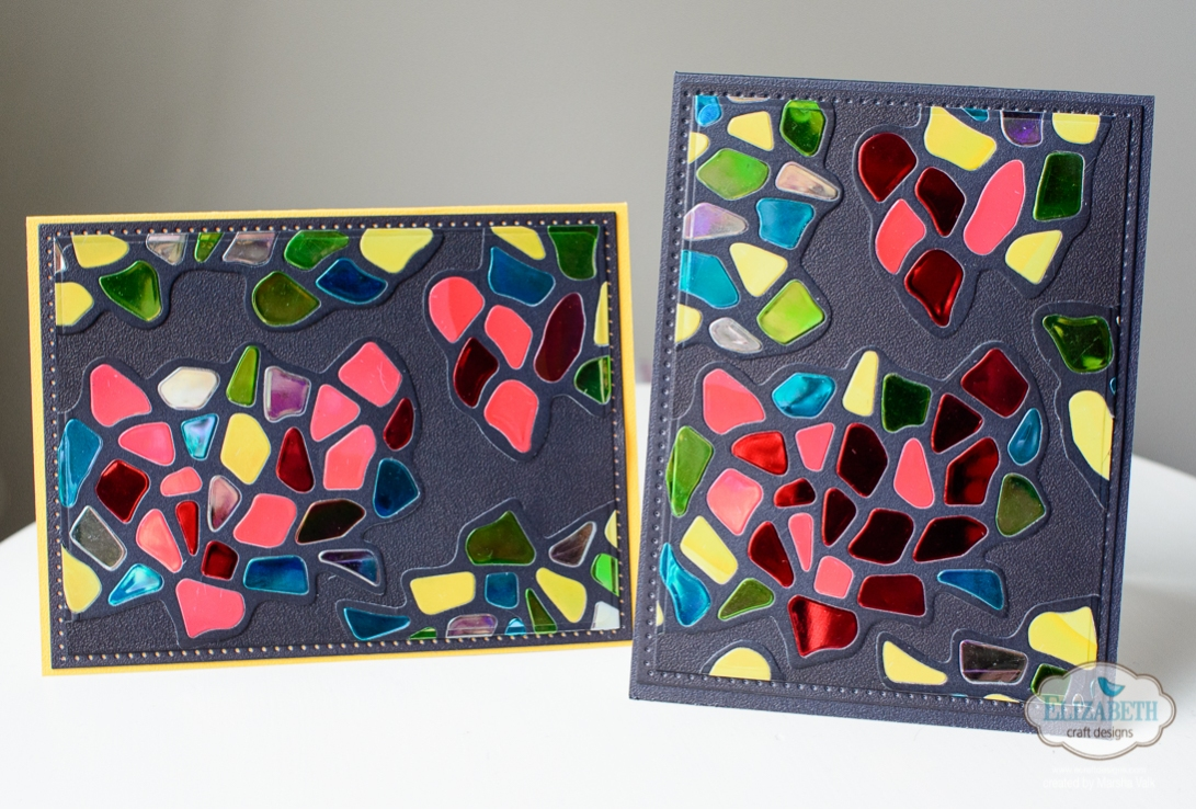 Marsha Valk   Elizabeth Craft Designs: Pebbles Stained Glass Hearts Card