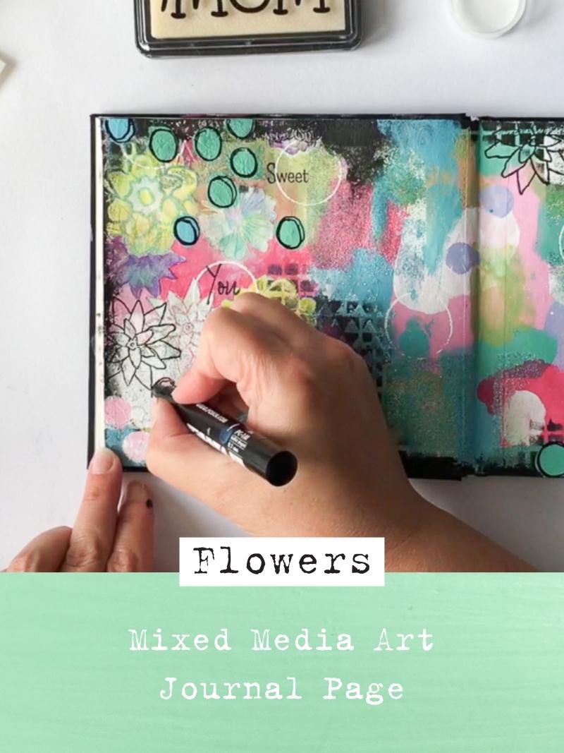 Flowers Art Journal Spread