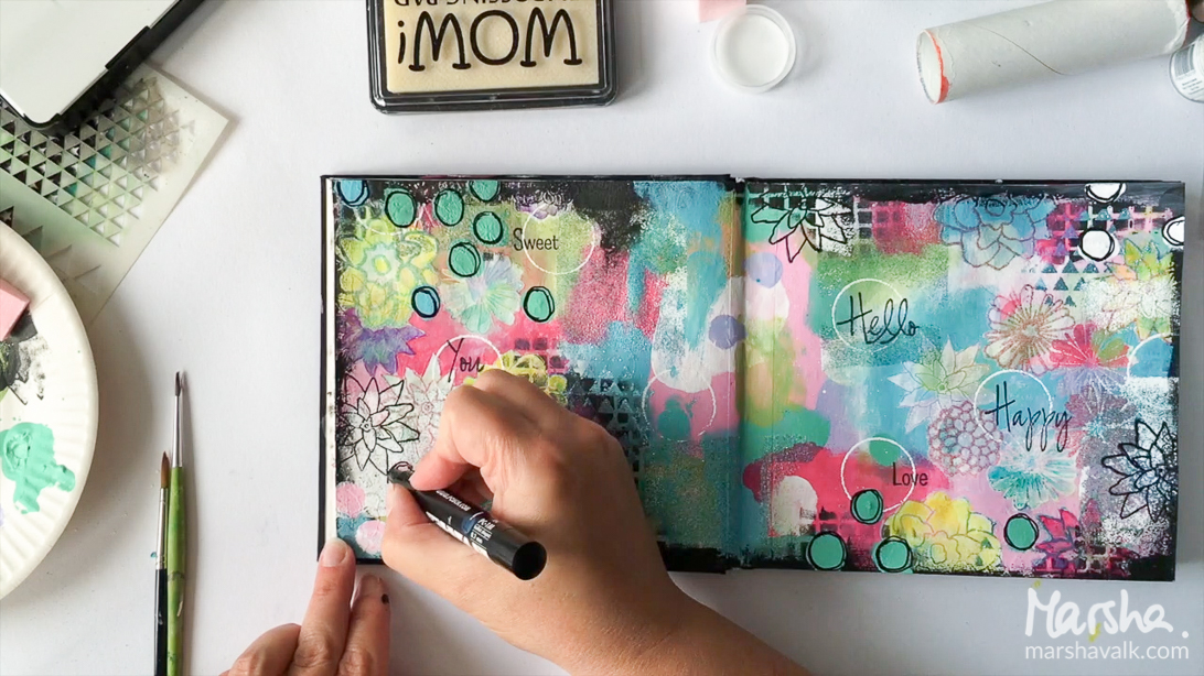 Marsha Valk | WOW! Embossing Powder: Flowers Mixed Media Art Journal Spread