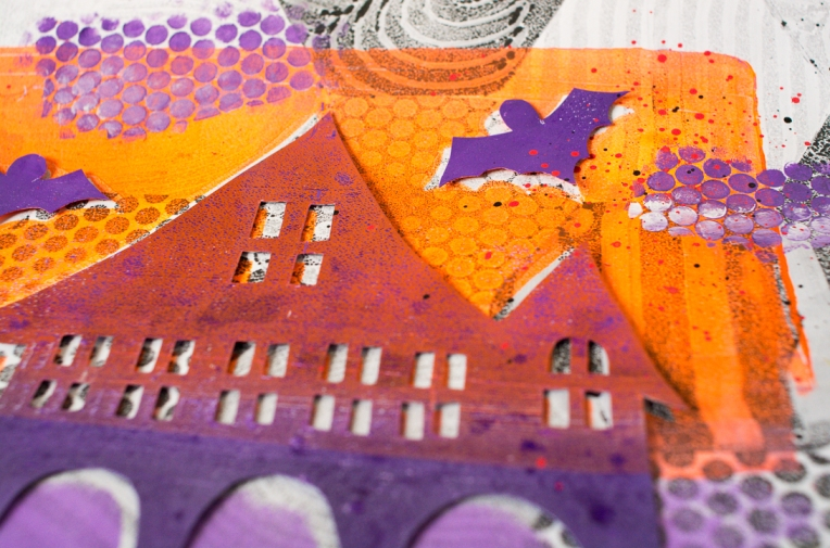 Marsha Valk   Gelli Arts: Haunted House Prints