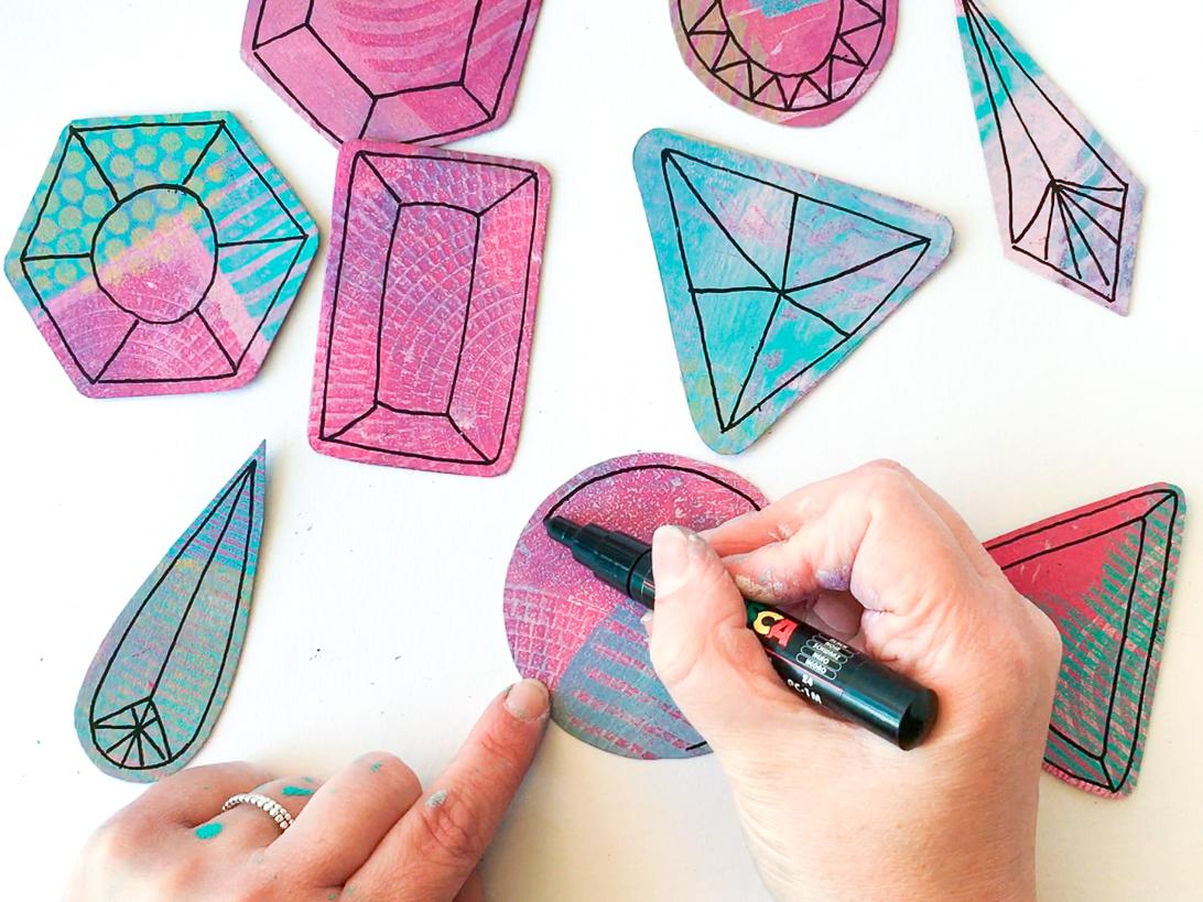Marsha Valk   Gelli Arts: Gem Ornaments