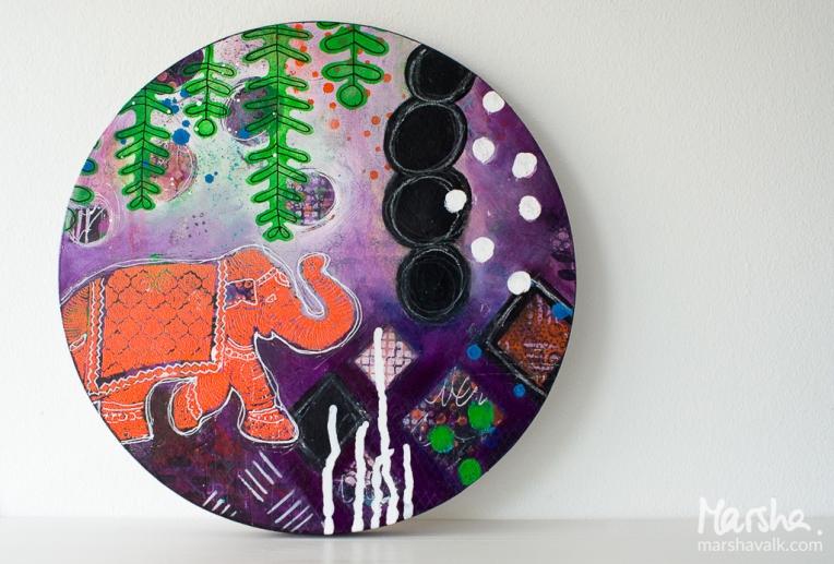 Marsha Valk | n*Studio: Elephants Never Forget \\ Mixed media woodpanel