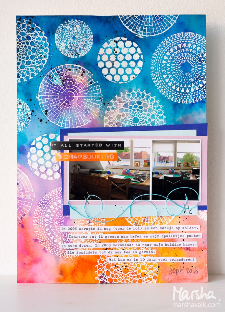 Marsha Valk | n*Studio: From Small Beginnings \ Mixed media scrapbook page A4