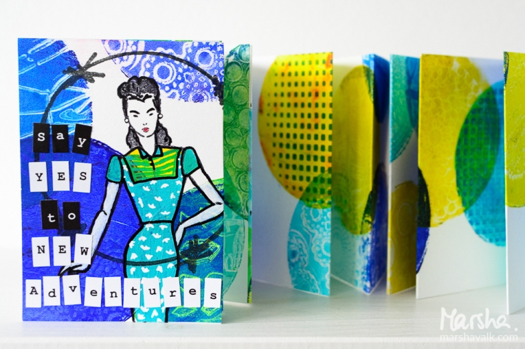 Marsha Valk | n*Studio: Say Yes to New Adventures \ Gelli printed accordion booklet