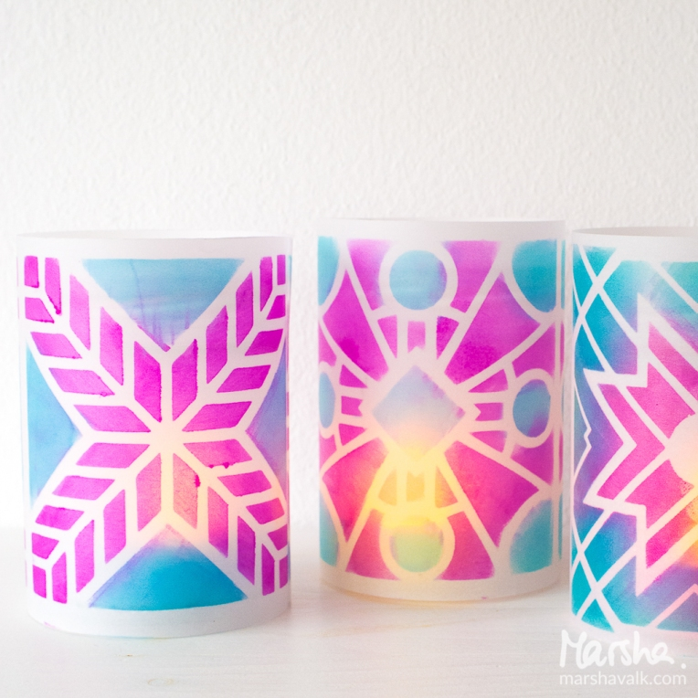 Marsha Valk | n*Studio: Return to the Light \ DIY stenciled votive candle holders