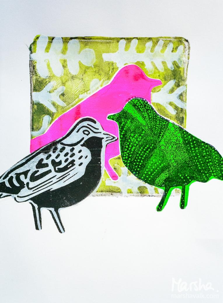 Marsha Valk | n*Studio: Opposites Attract \\ Gelli Prints