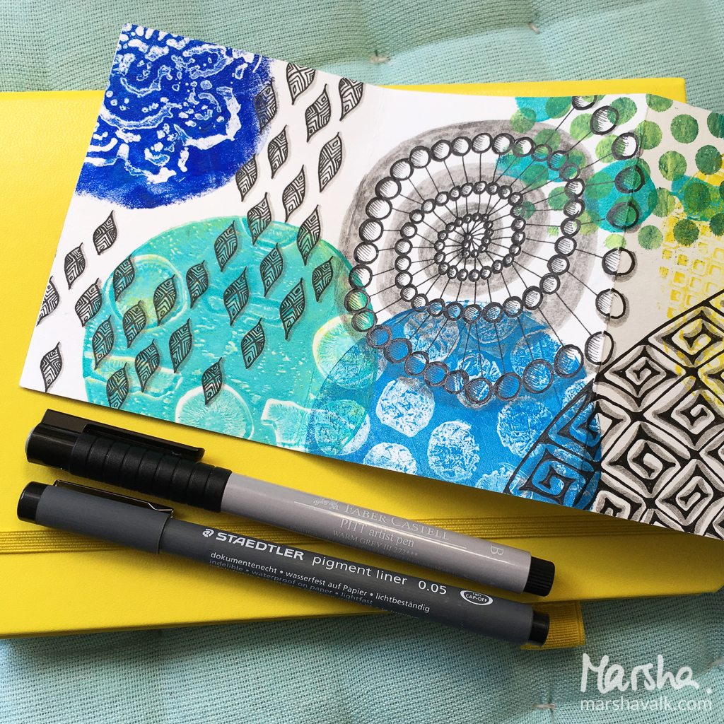 Marsha Valk | n*Studio: Say Yes to New Adventures \ Gelli printed and doodled accordion booklet