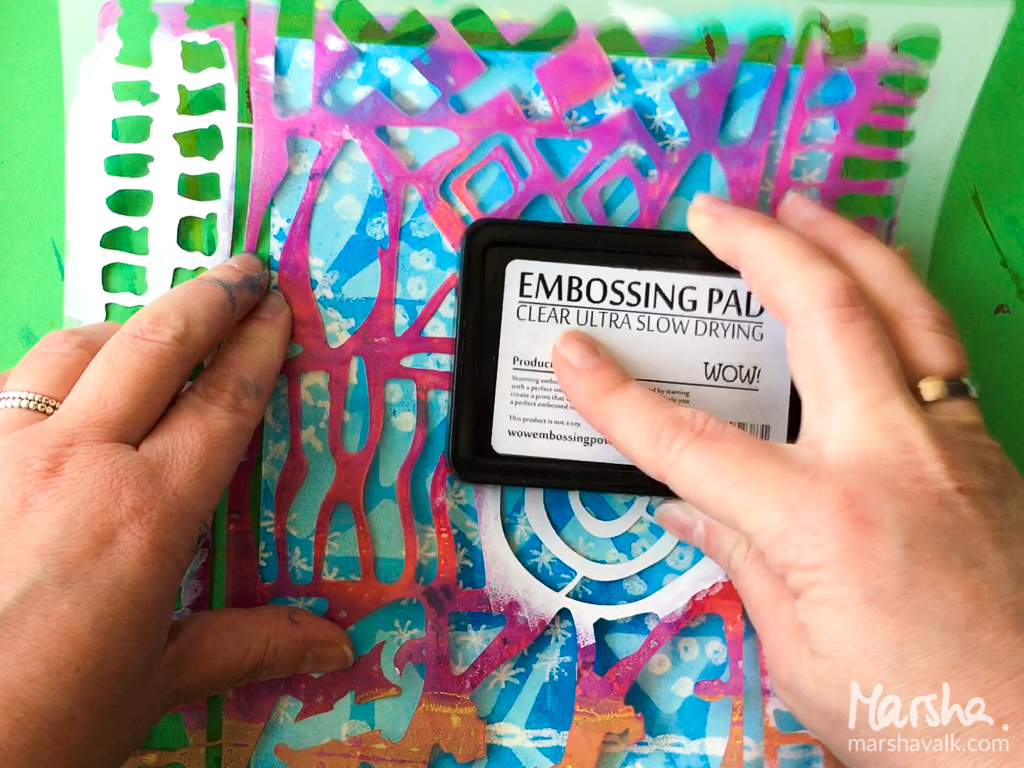 Marsha Valk | n*Studio: Let's Go Somewhere \\ Faux Batik Stamping & Embossing