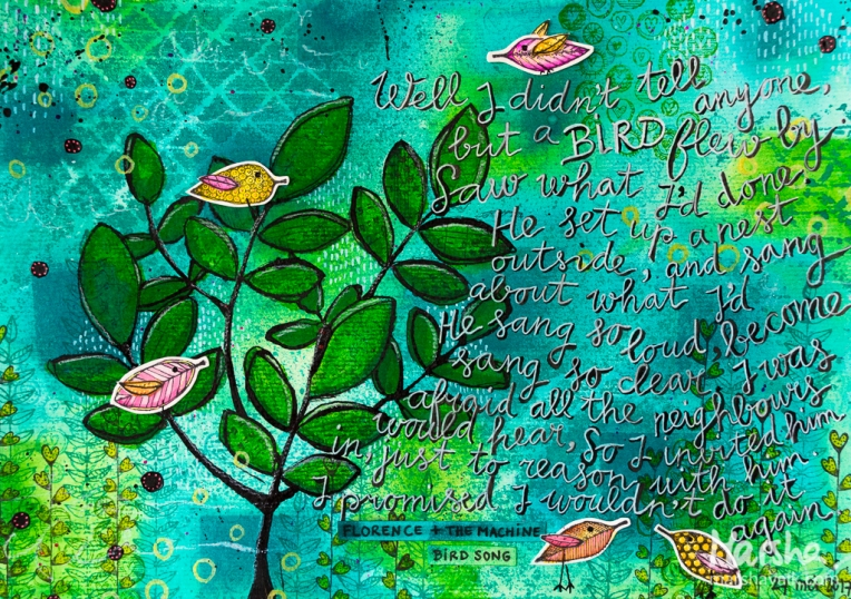 Marsha Valk | BMMAC: Little Birds Mixed Media Art Journal Page