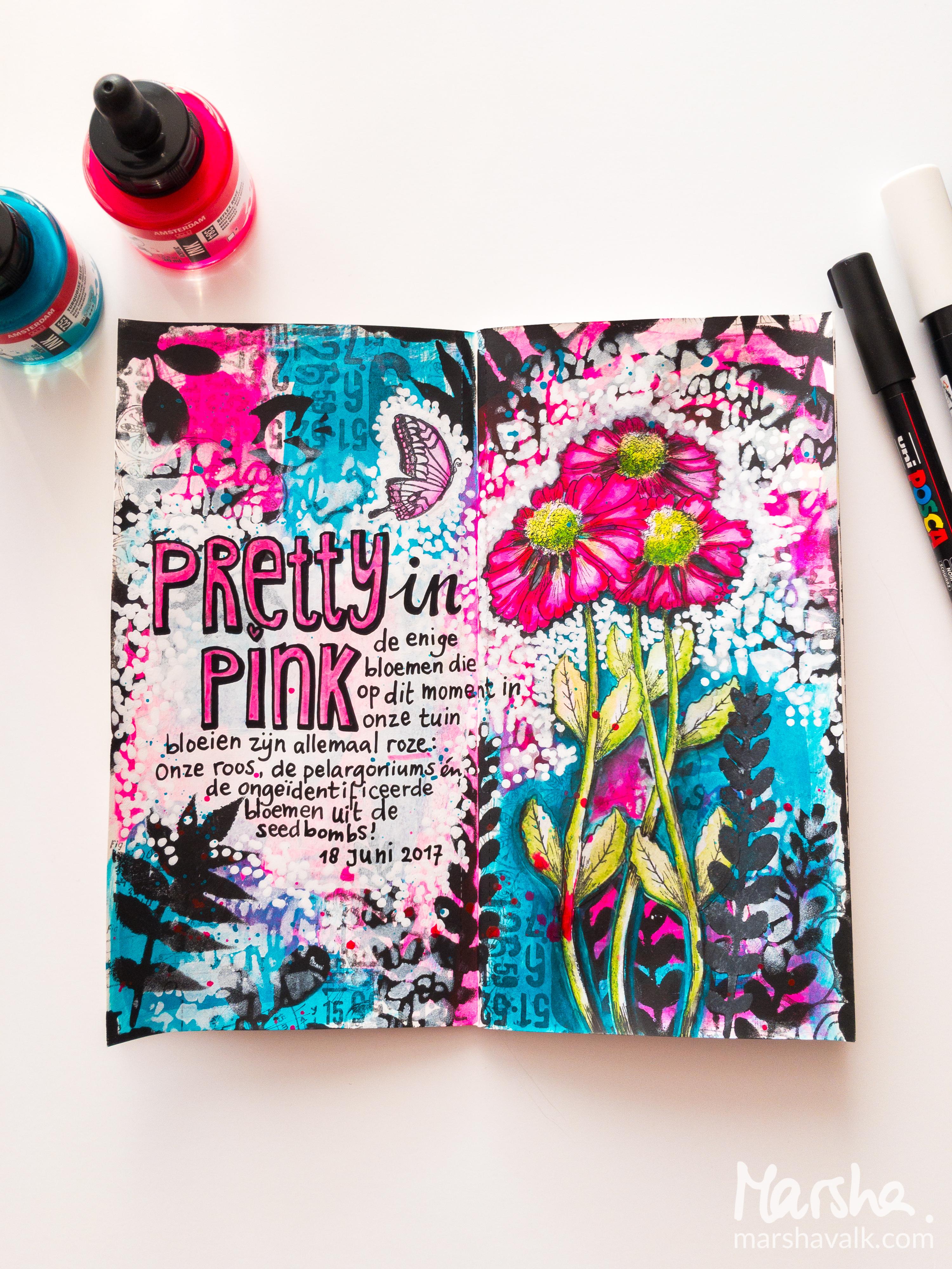 Marsha Valk | Carabelle Studio: Pretty In Pink // art journal spread