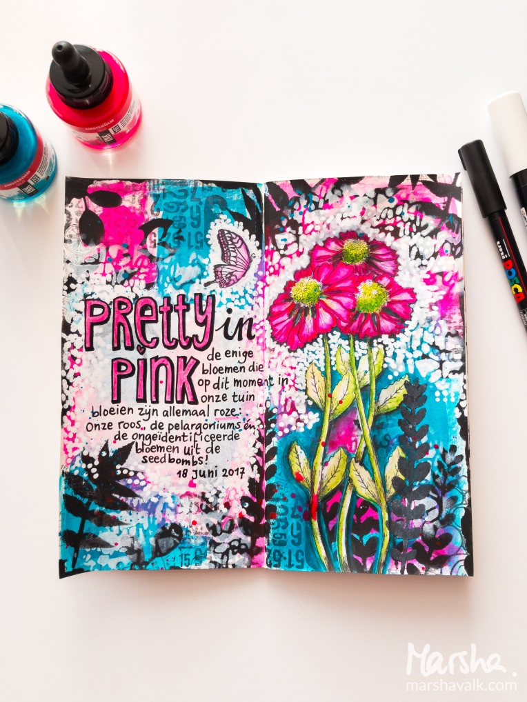 Marsha Valk | Carabelle Studio: Pretty In Pink // art journal spread