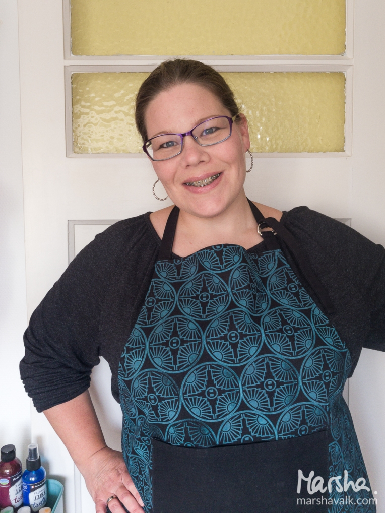Marsha Valk | n* Studio: Colours Are My Friends // apron stamped with ArtFoamies