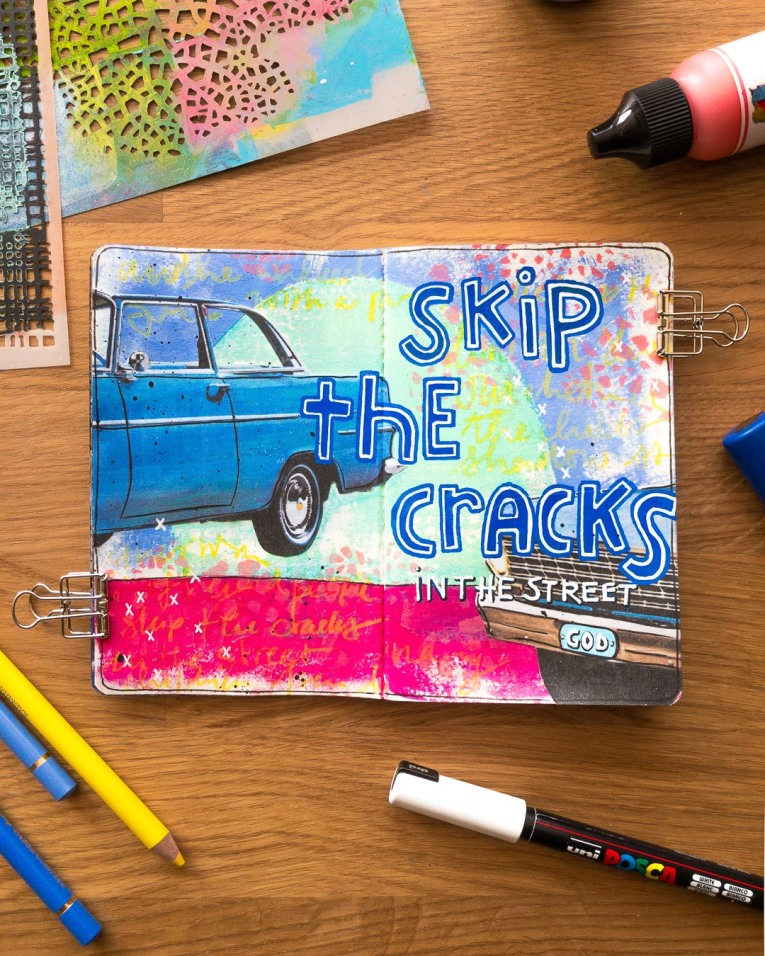 Marsha Valk | The Stencilfied Journal 2019 - Prompt 7 Counting Blue Cars
