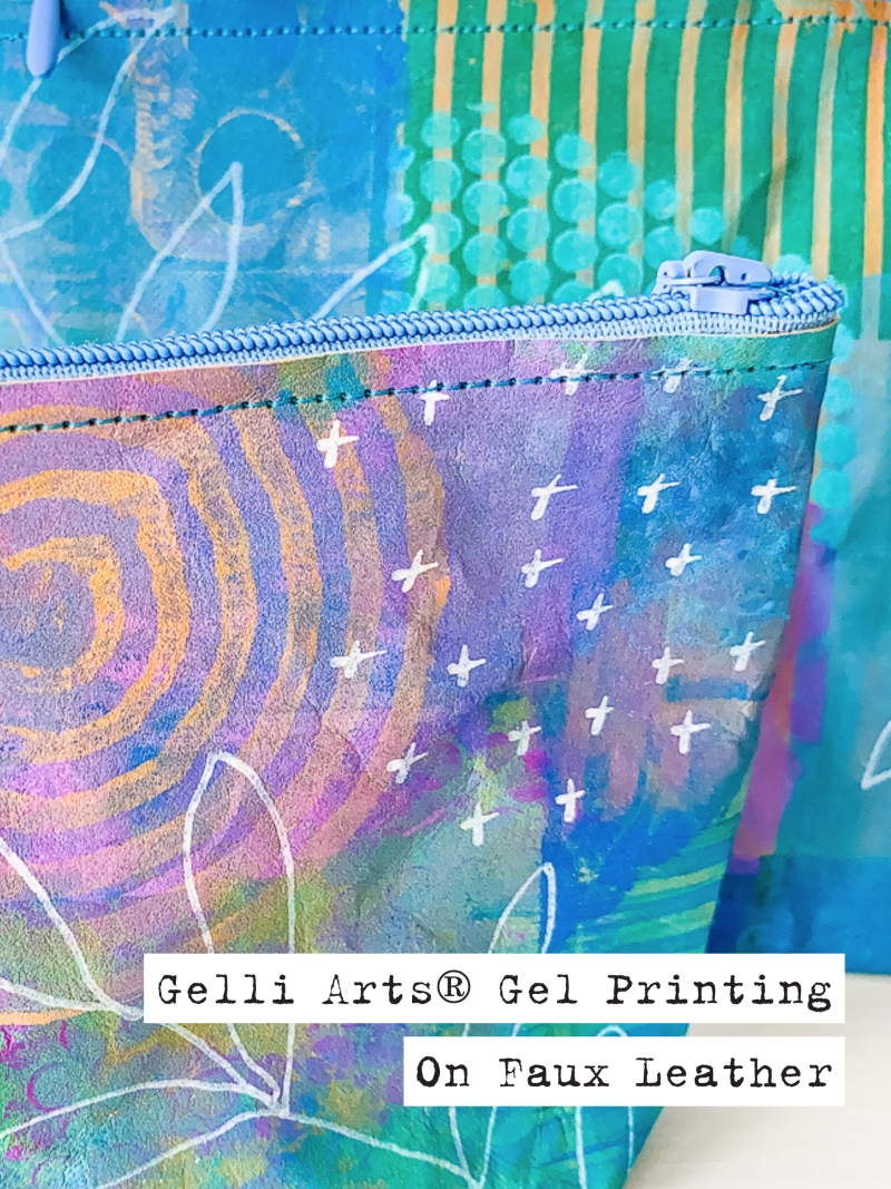 Gelli Arts® Gel Printing on Faux Leather by Marsha Valk