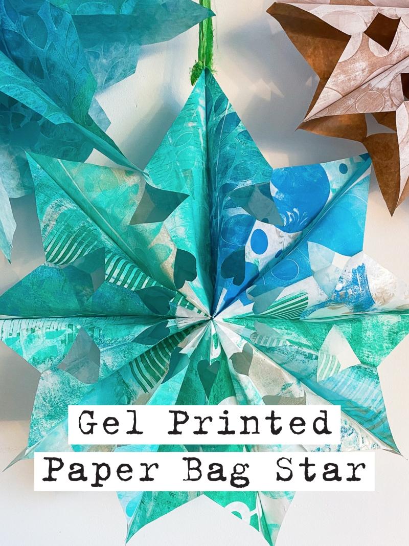 Gelli Arts® Gel Printing Paper Bag Stars by Marsha Valk