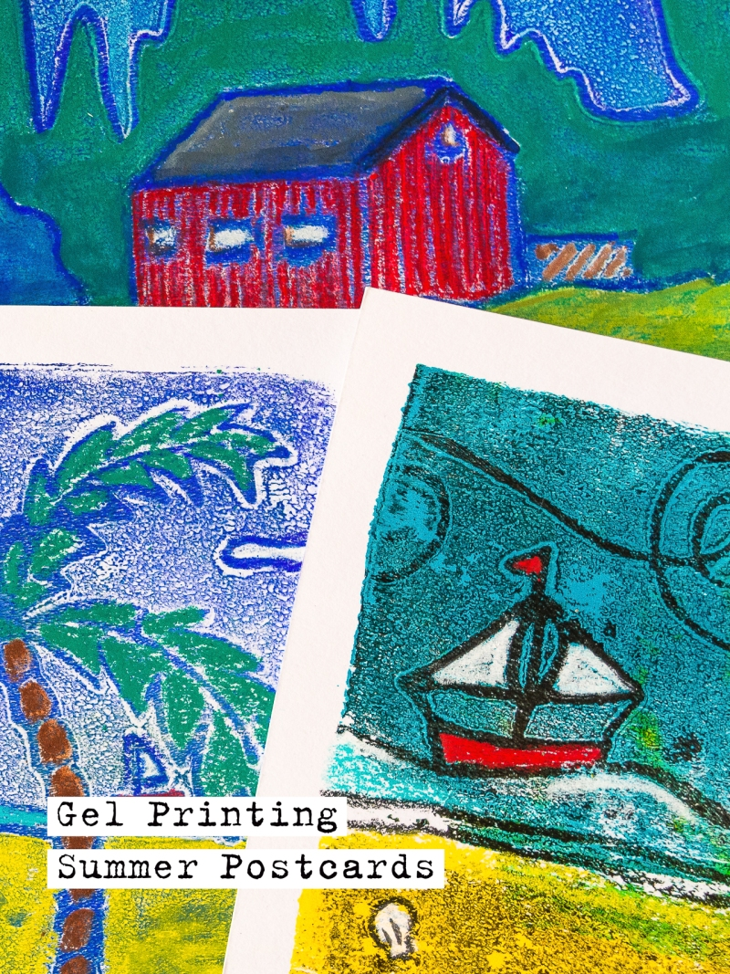 Marsha Valk - Gelli Arts Gel Printing Postcards