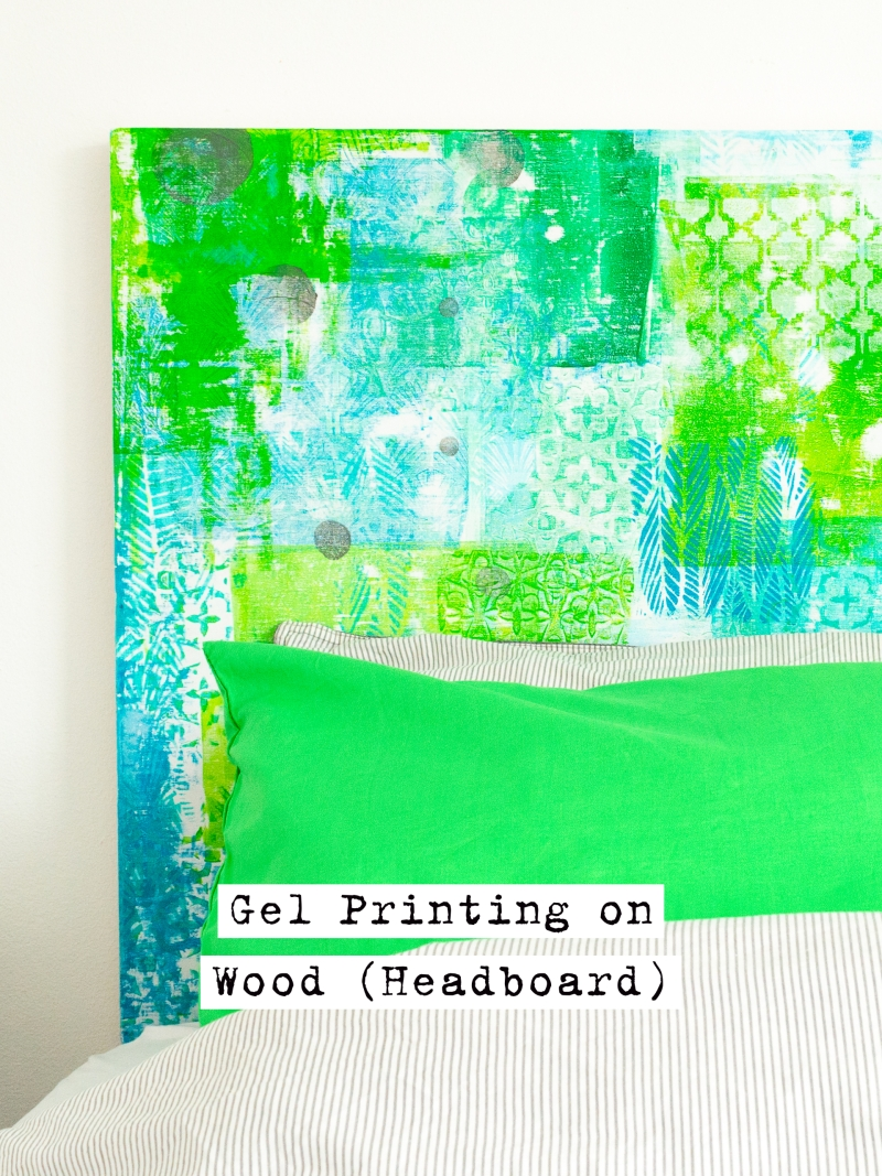 Gelli Arts gel print on a large substrate: wood headboard